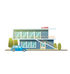 facade apartment house cottage flat style vector image
