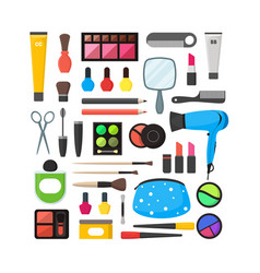Flat make up tools icon set cosmetics vector