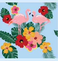 Floral flamingo background vector