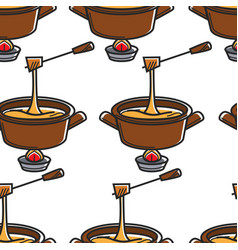 fondue swiss cheese seamless pattern saucepan and vector image