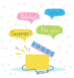 Gift box with surprise color holiday card with vector