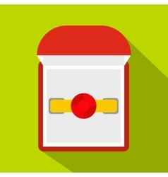 Gold ring with ruby in a red velvet box icon vector image