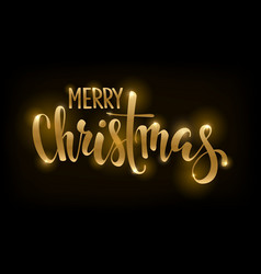 golden text on black background merry christmas vector image