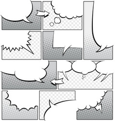 Greyscale comic book page template vector