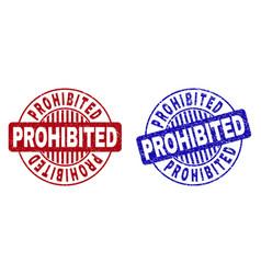 Grunge prohibited textured round stamp seals vector