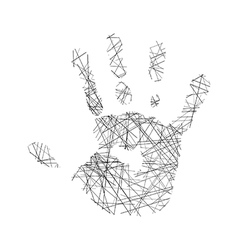 hand of human made of black lines vector image