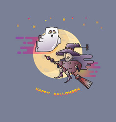 happy halloween card with funny ghost witch and vector image