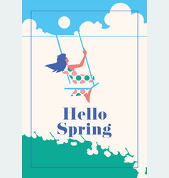 hello spring romantic poster vector image