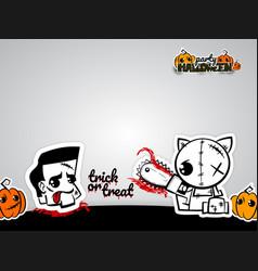 Helloween evil cat voodoo doll pop art comic vector