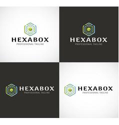 hexa box logo vector image