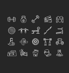 Home gym equipment chalk white icons set on black vector