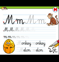 How to write letter m workbook for children vector