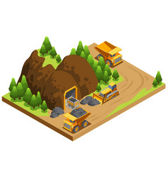 Isometric coal extraction industry template vector