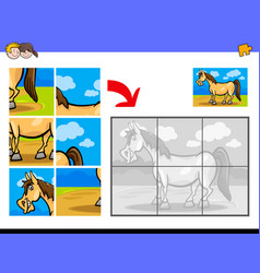 Jigsaw puzzles with pony farm animal character vector