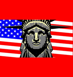 liberty head over flag vector image