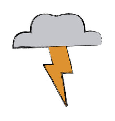 lightning thunder cloud in cartoon free style hand vector image