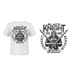 Medieval knight in armor t-shirt print vector