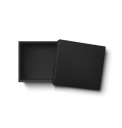 Opened black empty gift box isolated on white vector