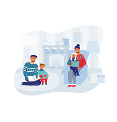 parents with children on christmas eve at home vector image