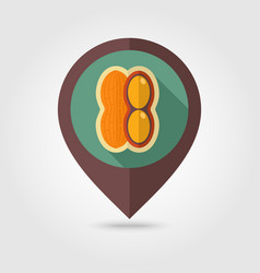 Peanut flat pin map icon vegetable vector