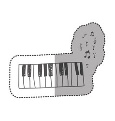 Piano instrument with note musical icon vector