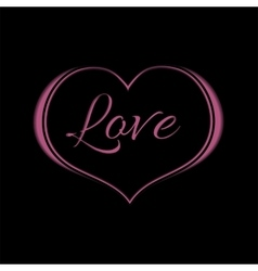 Pink Heart on Black Background for a Valentine Day vector