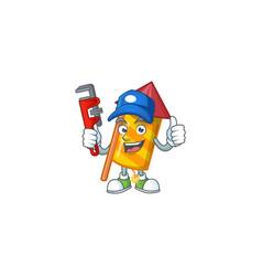 Plumber yellow stripes fireworks rocket on cartoon vector