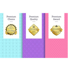 premium quality and choice set vector image
