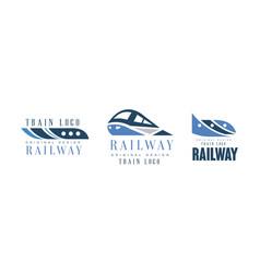 railway logo original design templates set train vector image