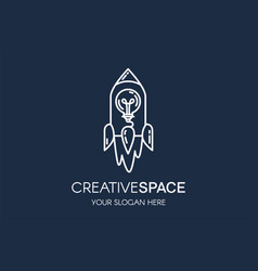 rocket and light bulb linear logo template vector image