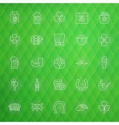 Saint patrick day thin line icons set vector