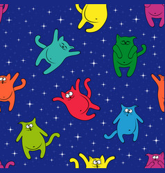 Seamless pattern with amusing cats on starry sky vector