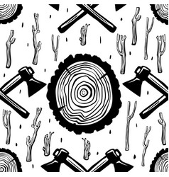 Seamless pattern with axes and wood round split vector
