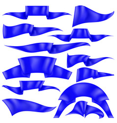 set of blue ribbons flag collection vector image