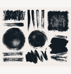 Set of hand drawn brush strokes and stains vector