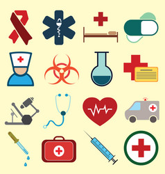 set of medical colored icons vector image
