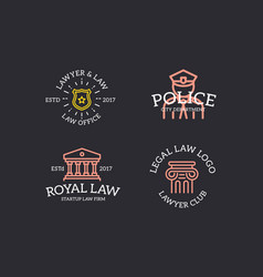set of retro vintage judge cop sheriff star vector image