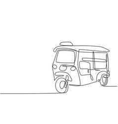 Single continuous line drawing tuk tuk thailand vector