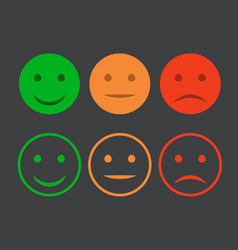 Smiley icon set emoticons positive neutral vector