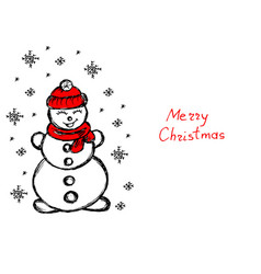 Snowman its snowing snowflakes winter hand vector