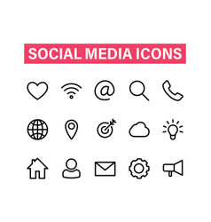 social media linear icons set icons for business vector image
