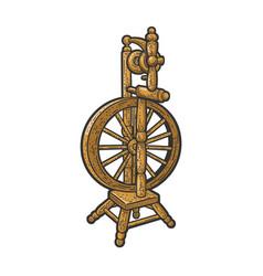 Spinning wheel sketch vector