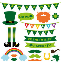 St Patricks Day design elements set vector image