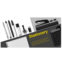 Stationery scene with office supplies background vector