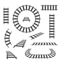 Straight and curved railroad tracks black vector