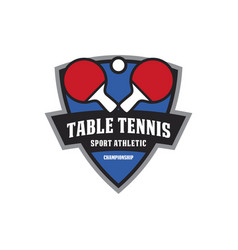 table tennis emblem logo vector image