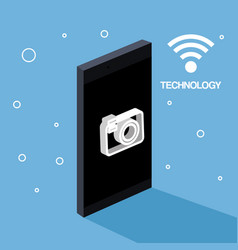 technology mobile phone camera photo wifi vector image