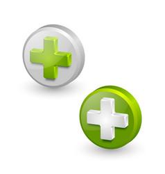 Three dimensional plus or medical cross symbols vector