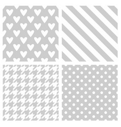 tile pattern set with white polka dots houndstooh vector image