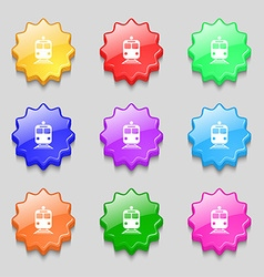 train icon sign symbol on nine wavy colourful vector image
